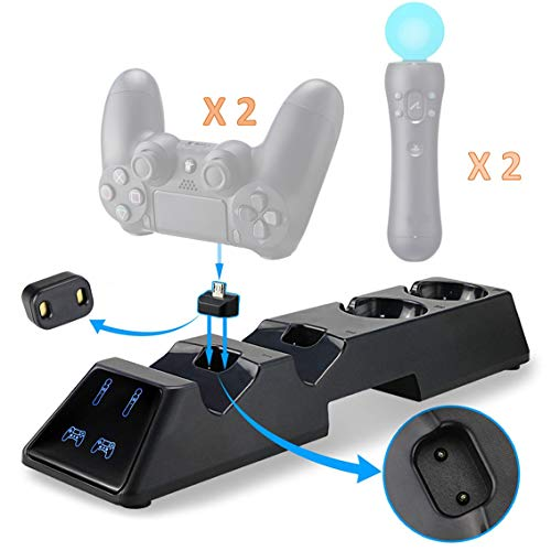 Thlevel PS4 Controller Ladestation Dualshock 4 Ladestation mit 4 Micro USB Lade Dongles Ladegerät Standfuß Kable Zubehörset für Sony Playstation 4 / PS4 / PS4 Slim / PS4 Pro Wireless Controller