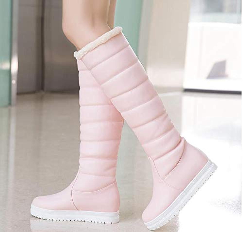 PINGXIANNV Frauen Stiefel Pu Leder Kniehohe Stiefel Plattform Flache Schneeschuhe Winter Weibliche Schuhe    Schön und charmant