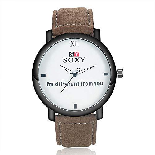 ZCFDNB Relojes Nuevo Reloj De Cuero De Moda Reloj De Cuarzo Reloj De Esfera Redonda Reloj De Pulsera