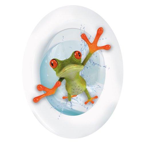 Wandkings Crazy Frosch, WC Deckel Aufkleber Sticker, 30 x 40 cm