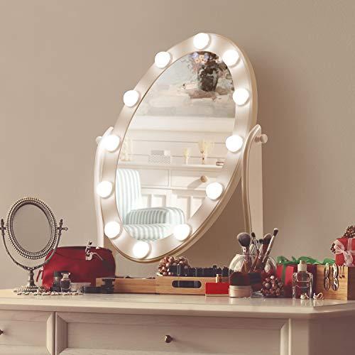 Hollywood beleuchteter Kosmetikspiegel mit 12 LED-Leuchten, dimmbares kaltes/warmes Licht mit Touch-Steuerung, einstellbarer Winkel für den Schminktisch