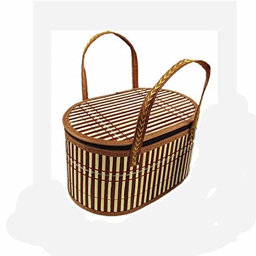 Picknickkörbe Landhausstil Bambus Picknickkorb Korb Mit Deckel Und Griff & Einlagen Für Picknicks, Partys Und Grills Aufbewahrungskorb