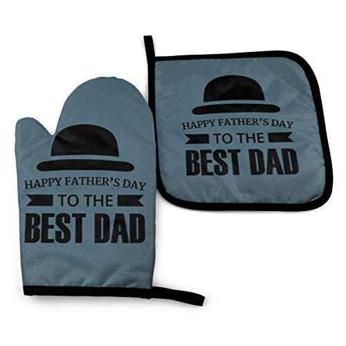 DCERHERG Happy Fathers Day to The Best Dad Oven Mitts and Pot Holders Sets Kitchen Counter Mats Heat Resistant Oven Mittens for Cooking BBQ Baking Grilling (2-Piece Set)