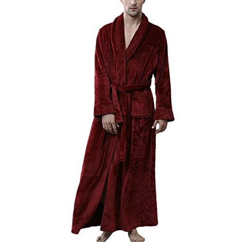 DUJUN Accappatoio da Uomo in Pile Corallo da Notte, Accappatoi da Uomo in Microfibra (100% Poliestere), 2 Tasche, Cintura e Vestito con Fibbia - Morbido e ConfortevoleBorgognaL