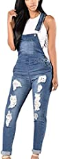 Smileyth Womens Denim Overalls Fashion Ladies Adjustable Strap Jumpsuit Spring Autumn Casual Ripped Distressed Romper Pants Jeans