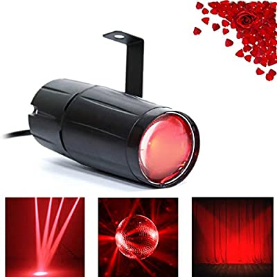 Top-Uking Pinspot Light Spotlight LED 3W Stage Light with Single Stand for Dance Halls Party Wedding (Red)
