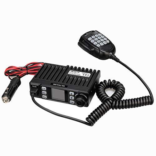 Retevis RA25 Mobile Ricetrasmettitore, Doppio Monitor Dual Band, 500 Canali, Radio FM, 5 Toni / 2 Toni/DTMF, Display TFT da 1,44 Pollici, Mini Mobile Radio (1 Pezzo, Nero)