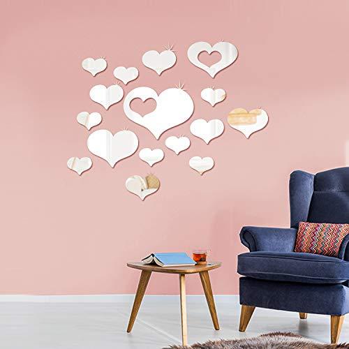Shappy Abnehmbare Acryl-Spiegel-Fassung, Wandaufkleber für Zuhause, Wohnzimmer, Schlafzimmer, Dekoration (Liebes-Herzform, 33 Stück)