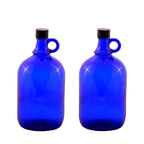 LGL Haushaltswaren 2 x 2 Liter Glasballonflasche in blau Gallone