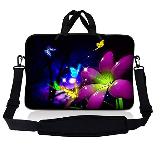 """LSS 17 inch Laptop Sleeve Bag Carrying Case Pouch w/Handle & Adjustable Shoulder Strap for 17.4"""" 17.3"""" 17"""" 16"""" Apple Macbook, GW, Acer, Asus, Dell, Hp, Sony, Toshiba, Purple Blue Floral"""