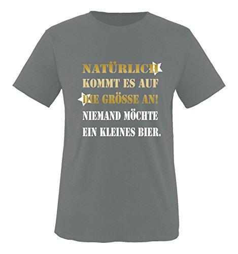 Comedy Shirts - Natürlich kommt es auf die Grösse an! Niemand möchte EIN kleines Bier. - Herren T-Shirt - Dunkelgrau/Gold-Weiss Gr. XXL