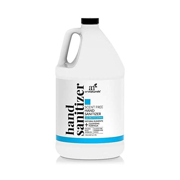 Artnaturals Hand Sanitizer Gel Alcohol Based (1 Gallon x 128 Fl Oz / 3785ml) Infused with Jojoba Oil, Alovera Gel & Vitamin E – Unscented Fragrance Free Sanitize