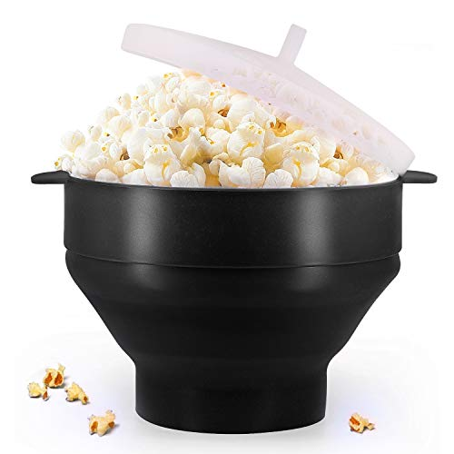 Original Microwaveable Silicone Popcorn Popper, BPA Free Collapsible Hot Air Microwavable Popcorn Maker Bowl, Use In Microwave or Oven (Black)