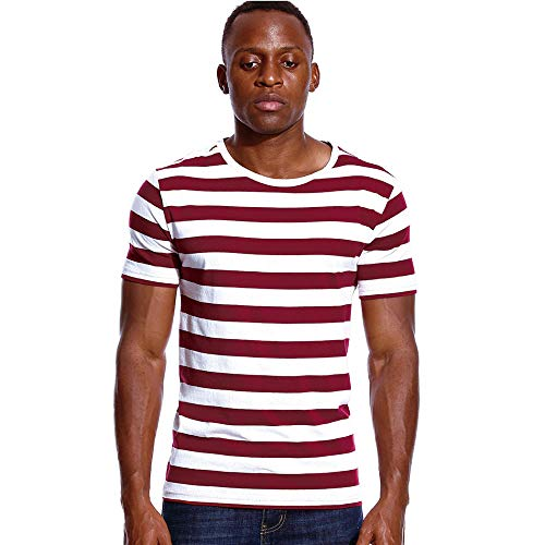 Camiseta Hombre Manga Corta Camisetas A Rayas para Hombre Camiseta Blanca Y Negra Camiseta De Algodón De Manga Corta con Cuello Redondo Unisex-Rojo_S