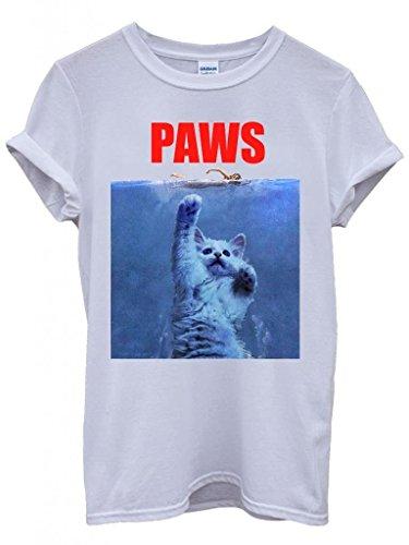 Paws Cat Kitten Meow Parody Cool White Men Women Unisex Top T-Shirt