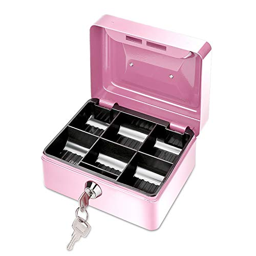 ONEVER Pequeño Banco de Dinero de Metal con Cerradura, Moneda Cash Caja Segura Hucha con 6 Compartimientos Bandeja de Dinero, Regalo Perfecto para Niños (Pink)