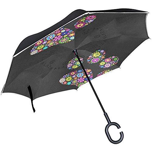 Reverse Umbrella Monkey Yawn Umgekehrter UV-Schutzschirm, umschaltbar für Golf Car Travel Rain Outdoor Black