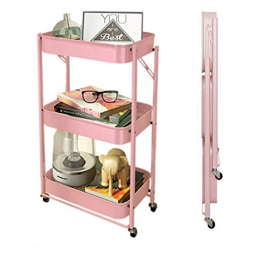 ZYFang 3 Niveles Carrito Cocina, Plegable Fruteros de Cocina Metal Mesa Carro de Almacenamiento con 4 Ruedas y 3 Cestos para Oficina Estudiar Aula (Color : Pink, Size : 17.7 * 11.6 * 30.3in)