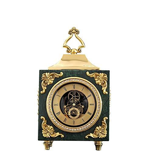 bdb Mármol Reloj de Chimenea Silencio Retro Reloj Forma de Cubo Reloj de Mesa Regalo de Dormitorio de decoración (Color : Verde)