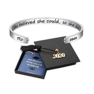 M MOOHAM Inspirational Graduation Gifts Cuff Bracelet – Engraved Inspirational Bracelet Cuff Bangle with 2020 Graduation Grad Cap, Mantra Quote Keep Going Bracelet Graduation Friendship Gifts for Her
