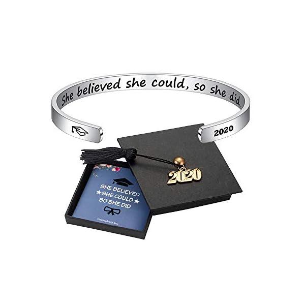 M MOOHAM Inspirational Graduation Gifts Cuff Bracelet – Engraved Inspirational Bracelet Cuff Bangle with 2020 Graduation Grad Cap, Mantra Quote Keep Going Bracelet Graduation Friendship Gifts for Her