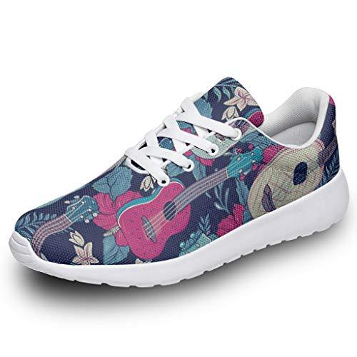 Herren Damen Sportschuhe Tropische Blumen Gitarre 3D Digital Turnschuhe Laufschuhe Trendige Straßenlaufschuhe Wanderschuhe Trainers Sneakers White 35