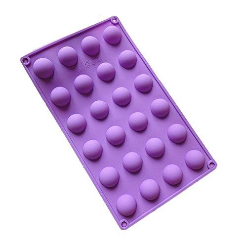 DIVISTAR Moule Silicone 24 Petits (2,5 cm) Demi-Cercle / Demi-Sphères / Boules / Gâteau Pops/Chocolats, Couleur Aléatoire