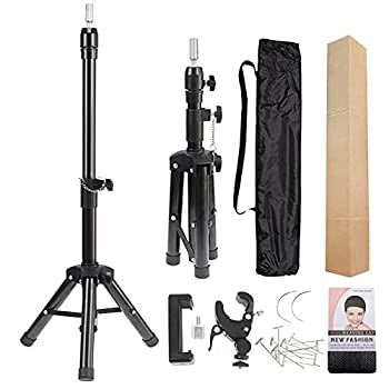 Wig Stand Tripod Mannequin Head Stand Metal Adjustable Heavy Duty Wig Head Stand for Canvas Block Head Cosmetology Hairdressing Training Doll Head and Styling Making Wigs with Smartphone Clamp Mount
