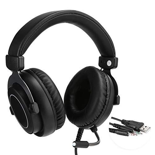 Auriculares para juegos con cable de 3,5 mm para Xbox One / PS4 / PC, para Mac y portátiles, auriculares con sonido envolvente con micrófono con cancelación de ruido, almohadillas de cuero suave para