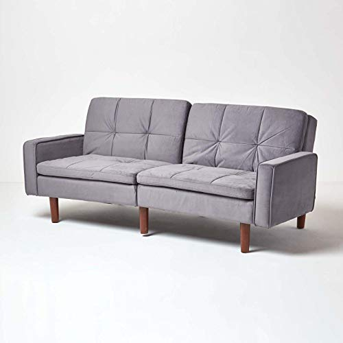 HOMESCAPES Velvet Sofa Bed Dark Grey 3 Seater Sofa with Armrests Click Clack Bed Sleeper Retro Range 'Murphy' Bed Settee on Wooden Legs for Study Guest and Living Room