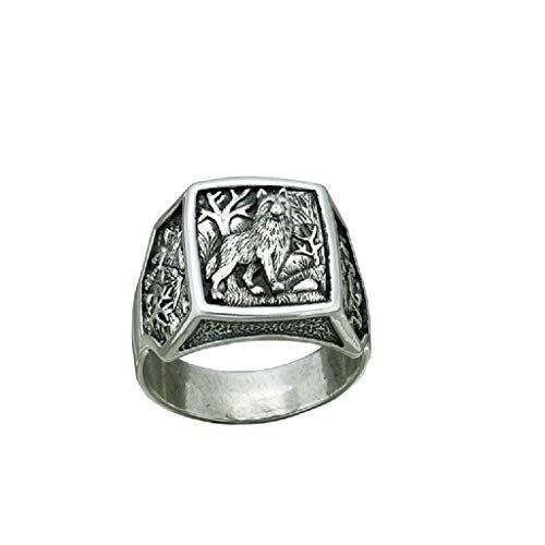 SF Indianerschmuck Wolfsring Navajo Style Westernschmuck Wolf Indianerring Ring Siegelring (60 (19.1))