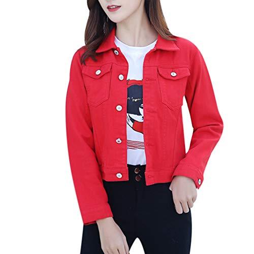 Mujer Casual Chaqueta Vaquera Slim Fit Cazadora De Denim Jeans Abrigos Manga Larga STRIR (L, Rojo)