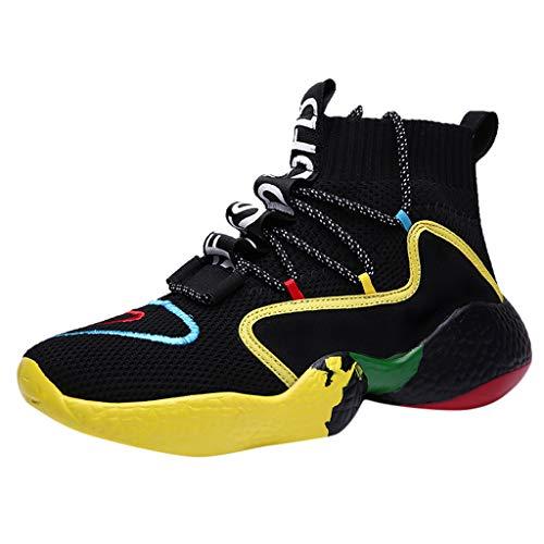 catmoew Herren Plus Größe Hoch Oben Schuhe Fliegendes Weben Turnschuhe Sportschuhe Atmungsaktiv Laufschuhe Weicher Boden Straßenlaufschuhe Outdoor Fitness Sneakers