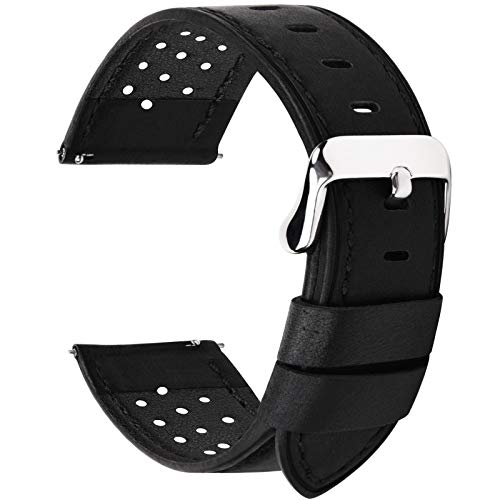 Fullmosa 5 Colors for Watch Band, Quick Release Breeze Leather Watch Strap 20mm 18mm 22mm 24mm,20mm Black