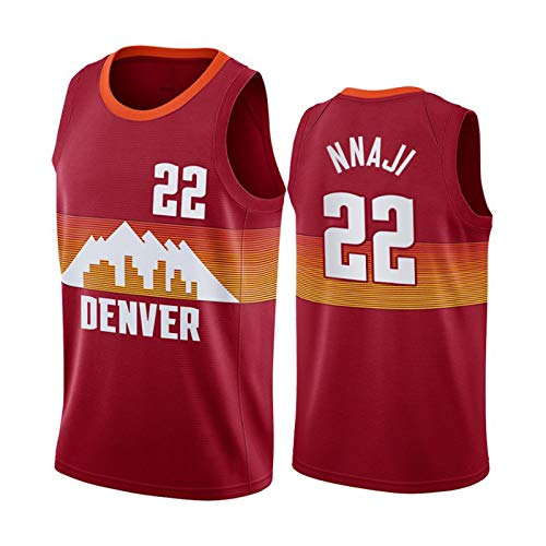 GLACX NBA Men's Jerseys, (2 Estilo) Denver Nuggets 22# NNAJI Ropa de Baloncesto clásica, Tela Fresca de Tela Transpirable Camisetas Deportivas, Fans Unisex Swingman Jerseys,Marrón,XXL