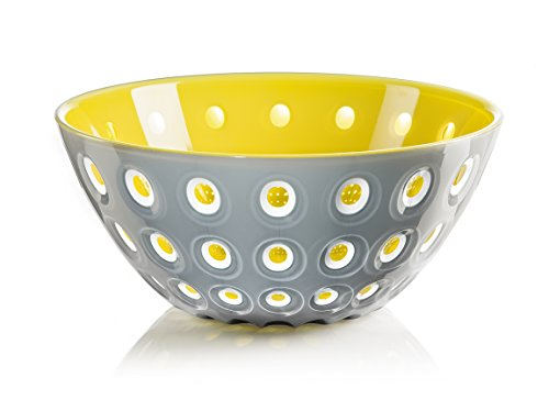 "Guzzini Le Murrine Bowl, 9-3/4"" x 4-1/4"", Unique Serving Dish or Centerpiece, 91-Fluid Ounces, Made in Italy, Grey, White, Yellow"