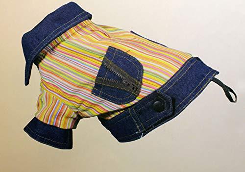 Nayeco hondenmantel van stof jeans kleur blauw en strepen bont tg. 36 cm.