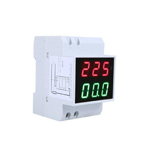 Voltímetro Amperímetro AC80-300V 0.2-99.9A LCD Digital,Medidor Consumo Electrico Din Carril,Multímetro Medidor de Voltaje/Corriente D52-2042