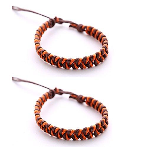 2 pulseras de amistad unisex DonDon de colores, pulseras para la pareja, modelo a elegir naranja-marrón Talla única
