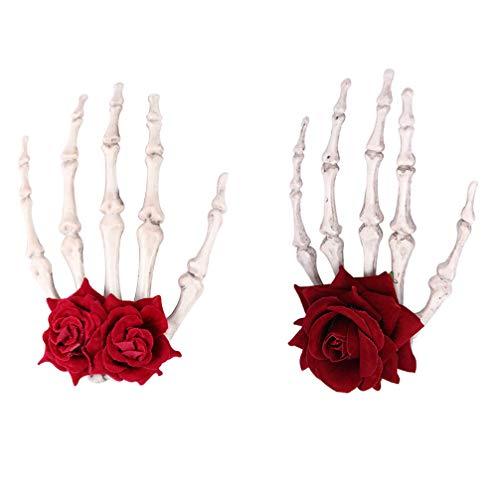 Lurrose 2Pcs Halloween Rose Flower Skeleton Hands Pinzas para El Cabello Garra Punk Rose Veil Gothic Frida Kahlo Disfraz Tocado para Cosplay Masquerade (Rojo)