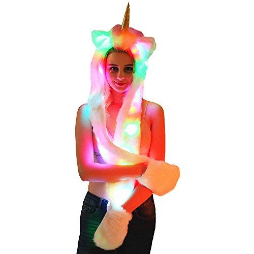 3 in 1 LED Unicorn Hut Schal Handschuhe Kunstpelz mit bunten LED Licht einteiligen Hut (Unicorn)