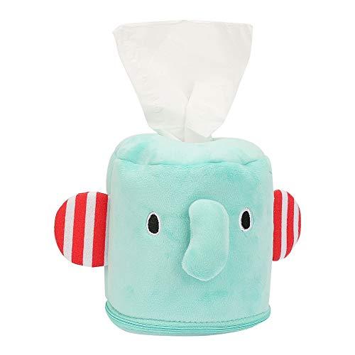 Caja de pañuelos de peluche para bebé Infantería de dibujos animados Animal lindo Toallitas suaves Caja de soporte (Elefante verde)