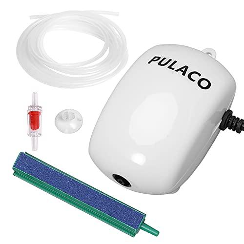 PULACO Ultra Quiet Mini Aquarium Fish Tank Air Pump for 1-20 Gallon Fish Bowl with Air Tube Air Bubbler Stone Check Valve