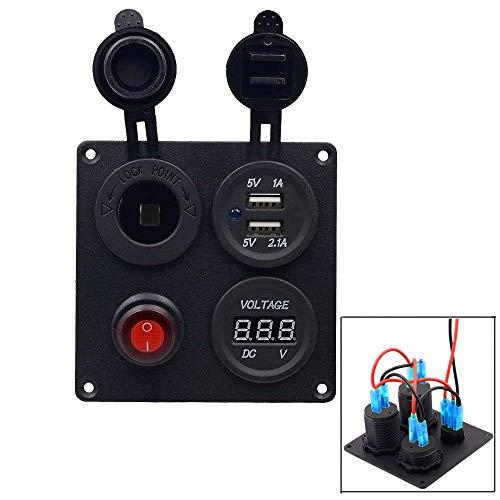 Samoleus 4 Agujeros Dual Toma USB + Voltímetro LED + Zócalo del Alumbrador del Cigarrillo + Interruptor de Botón ON-OFF para Coche Camión Moto Barco