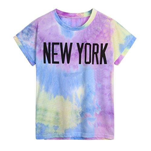 TUDUZ Damen Casual Gedruckte Buchstaben Kurzarm T-Shirt Tops Bluse Oberteil
