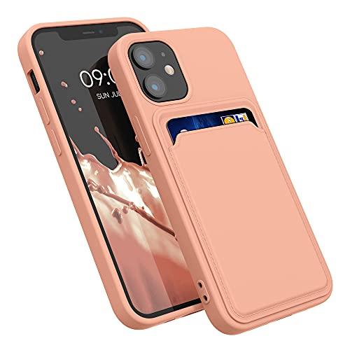 kwmobile Funda con Tarjetero Compatible con Apple iPhone 12 Mini - Carcasa Protectora de TPU Suave - Pomelo Rosa