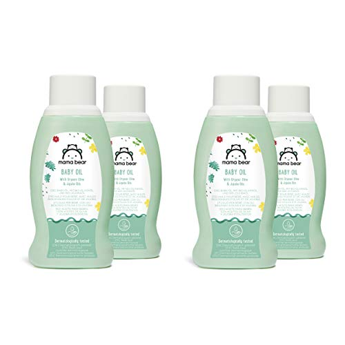 Amazon-Marke: Mama Bear Baby Öl mit Bio-Olivenöl & Bio-Jojobaöl, 4 Flaschen - 4x250ml
