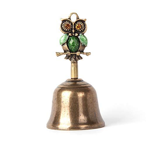 Anahbell Owl Shape Dinner Bell Service Bell Handbell Home Decoration - Medium (Green)