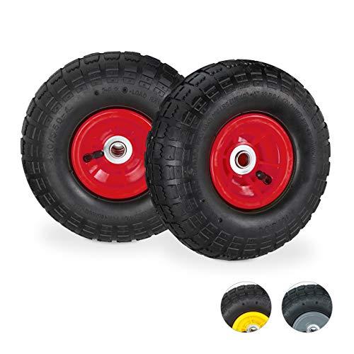 Relaxdays Sackkarrenrad 4.1/3.5-4-Rueda para Carretilla (2 Unidades, neumático de Repuesto, Eje de 16 mm, 136 kg, 260 x 85 mm), Color, Rojo/Negro
