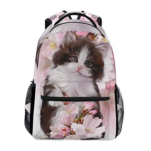 BIGJOKE - Zaino, motivo floreale con gatto, grande capacità, stile casual, stampato, per scuola, viaggi, laptop, donne, adulti, ragazzi e ragazze